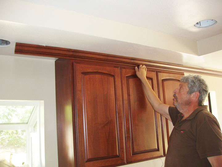 San diego s best custom cabinetry special process of for Attaching crown molding to kitchen cabinets